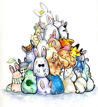 Pile of bunnys. by MiniMushroom