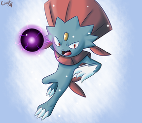 Weavile using Shadow Ball by CrisVF