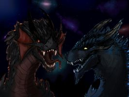 Spiky Night Dragons by SpaceDragon14