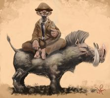 Old Man on a Boar by i-am-mighty