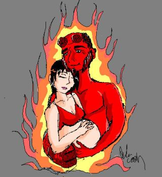 liz and hellboy by TimelessReference