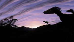 Deinonychus at Sunset by MicrocosmicEcology