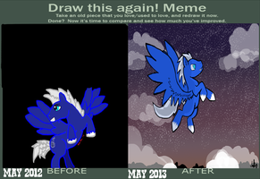 Draw this Again Meme-1 Year's Progress by izze-bee
