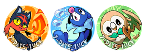 Pokemon Sun and Moon: Starters Badge Collection