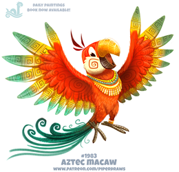 Daily Paint 1983# Aztec Macaw by Cryptid-Creations