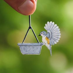 Tufted Titmouse  - Paper cut birds by NVillustration