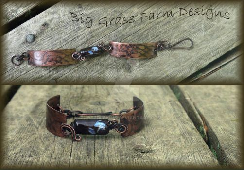 Lampwork Bead and Copper Bracelet by bgfdesigns