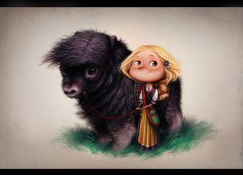 Girl with muskox by Anuk