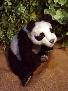 Needle Felted Panda by SovaeArt