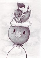 Drifloon and Chatot by PacificPikachu