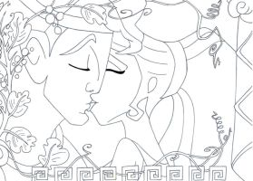 kiss Hercules and Meg lineart by lizzzy-art