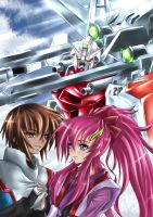 Kira and Lacus Shining from the Dark Space by keanove