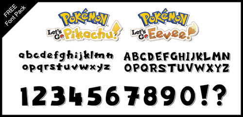 Font Pack: Let's Go Pikachu and Eevee by Mucrush
