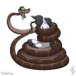 Kaa and Bantam Crow by Goldy--Gry