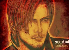 Leon S. Kennedy drawing (stained) by AkaiUchiha9097