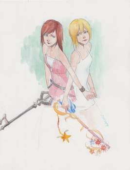 Commish: Kairi and Namine by Solusn by x-Destinys-Force-x