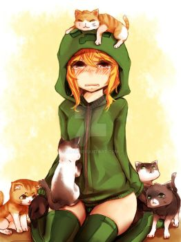 Anime minecraft creeper With cats