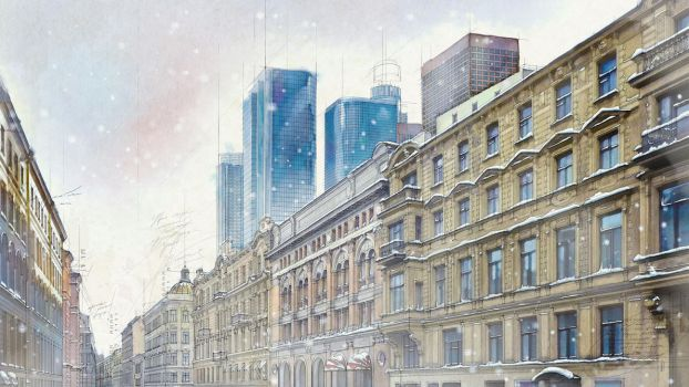 Architectural watercolor set. Winter by EldarZakirov