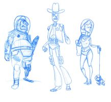 Pirate, Cowboy, and Astronaut by HyraxAttax