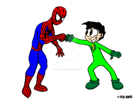 Spider-Man and Micro-Boy (Colored) by JIMENOPOLIX