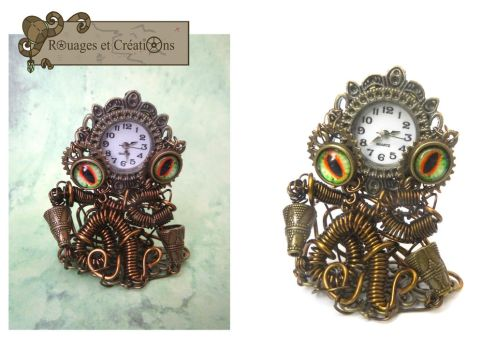 Altesse, steampunk Octoclock by Rouages-et-Creations