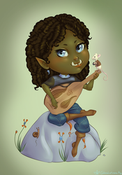 Ophelia the Half-Orc Bard by GlassLotuses