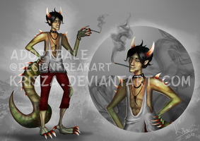 ADOPTABLE - OPEN Dragon/lizard guy with cigarette by Krisza