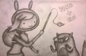 Drawing #93 Fionna and Cake Sketch(Adventure Time) by AidanJA