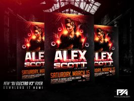 DJ Electro v3 Party Flyer PSD Template by pawlowskiart