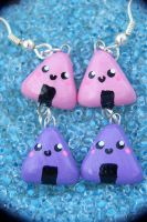 Pink and Purple Onigiri Earrings by NaughtyBirdBoutique