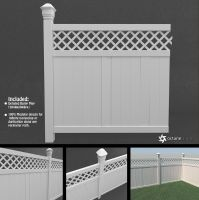 Vinyl Fence Panel (modular 3D model) by LuxXeon