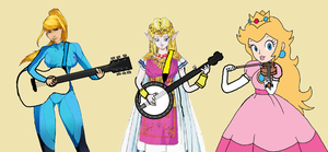 Zero Suit Samus, Zelda And Princess Peach Playing by joebarnesandbanjo