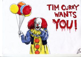 Tim Curry - Pennywise by Seal-of-Metatron