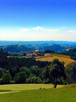 Panoramic view into a summertime scenery by patrickjobst