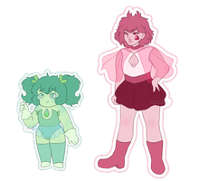 Mystery Gems Chrysoprase and Rubellite by spacenerdy