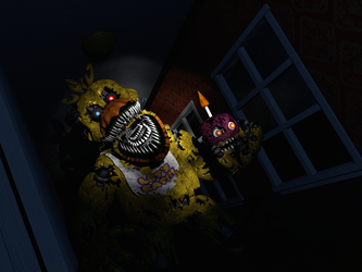 FNAF 4: Nightmare Chica in the hallway Concept 2 by AndyDatRaginPurro