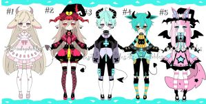 Kemonomimi adoptable batch open by AS-Adoptables