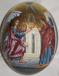 Religious icon of Annunciation on ostrich egg by ntina1965