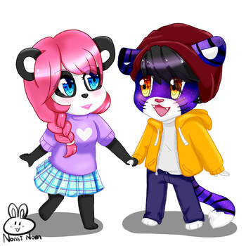 Chibi couple commission by JuiceBoxBunny