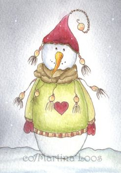 Snowman by dragonflywatercolors