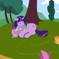 Twilight and Spike Nap time by fluffikitten