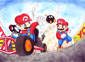 Mario and SOMARI race by SoVeryUnofficial