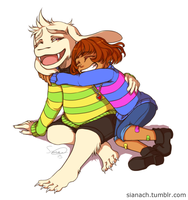 Asriel and Frisk by Issane