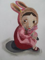 Imitation of Nicoletta Ceccolis Girl with Bunny by i-s-h-i-d-a