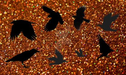 Gold/Black Murder of Crows. by RosesofBlue2008