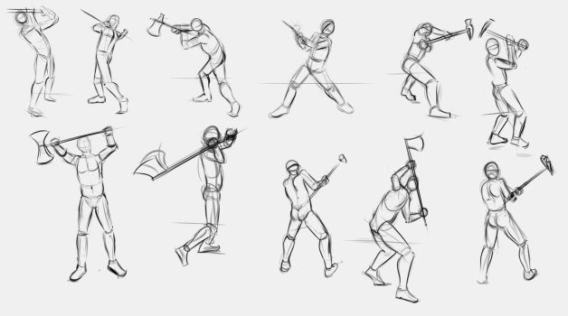 2 handed Axe and Pole Hammer Poses by TimothyWilson