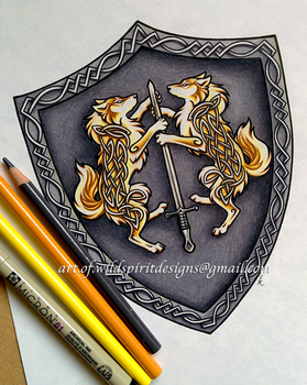 Celtic Wolves Of Light - Heraldic Shield Design by WildSpiritWolf