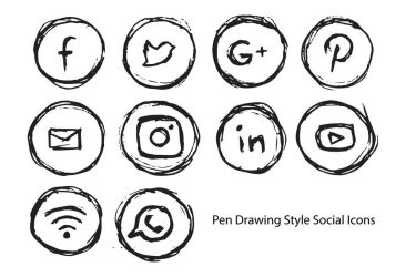 Pen Drawing Style Social Icons by spenelo