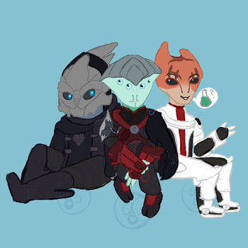 Mordin, Saren, and Zancore by TheYUO