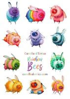 New Rainbow Bee Stickers! by camilladerrico